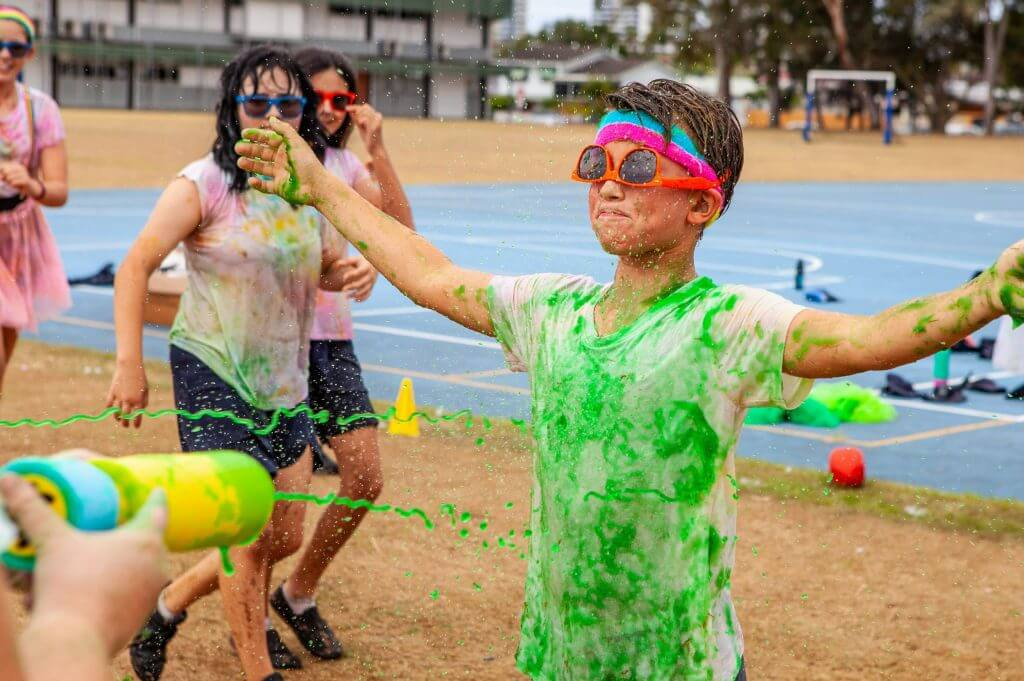 Kid is covered in slime from head to toe